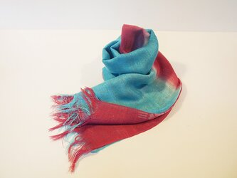 国産シルク100%手描き染めストール pink&blueの画像