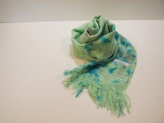 国産シルク100%手描き染めストール green&blueの画像