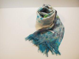 国産シルク100%手描き染めストール gray yellow&blueの画像