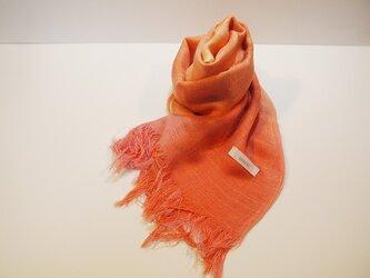 国産シルク100%手描き染めストール orange&pinkの画像