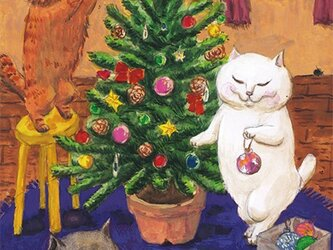 カマノレイコ オリジナル猫ポストカード「クリスマスのしたく」2枚セットの画像
