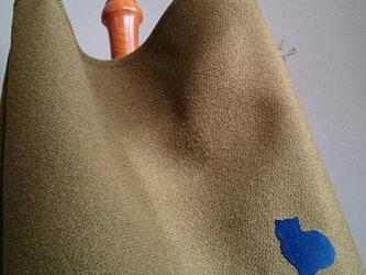 ツイード斜めかけバッグほっこり栗色ブルーのねこさんの画像
