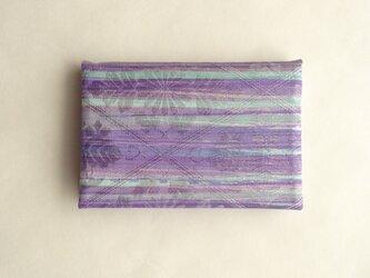 絹手染カード入れ(横・渋紫薄緑)の画像