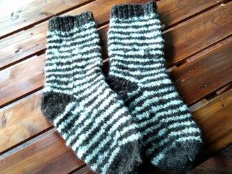 飛騨高山で生まれた手紡ぎ糸の防寒手編み靴下 しましまの画像