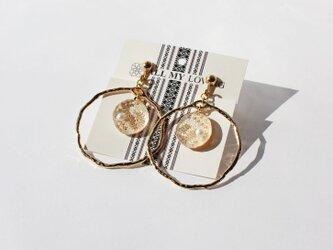 博多織樹脂イヤリング(RY-01) ラウンドチャーム ゴールド 金 gold レジン 和装 着物 博多献上の画像