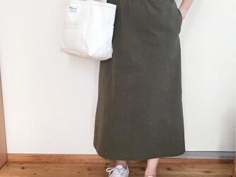 【受注生産】チノロングスカート  カーキの画像