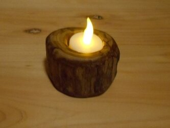 【温泉流木】ミニ丸太輪切りのかわいい流木LEDキャンドルスタンド003コンパクト キャンドルホルダー 流木インテリアの画像