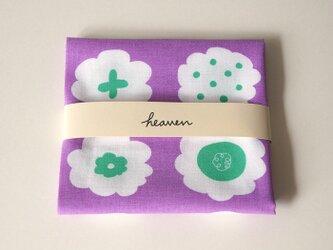 フラワークッキー てぬぐい( 紫 × ミントグリーン )の画像