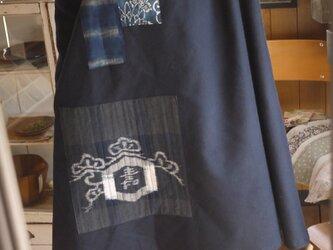 ウール混紡に型染めのハイネックワンピースの画像