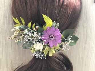 グリーンとパープルジニアと小花のボタニカルヘアアクセサリー/プリザーブドフラワーコサージュ使用可の画像