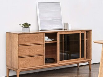 オーダーメイド 職人手作り 家具 キャビネット サイドボード リビング 収納棚 家具 天然木 木目 エコ LR2018の画像