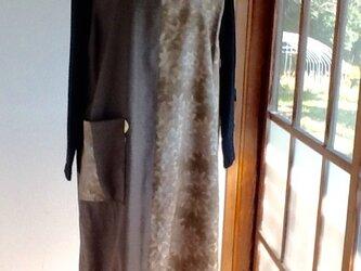 グリーン系の大島紬  ジャンパースカートの画像