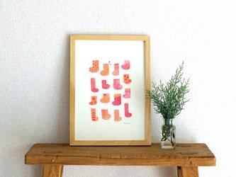 socks ( orange × pink ) A4ポスターの画像