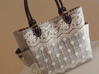 サイドポケットバッグS(リネンとチュールレース)の画像