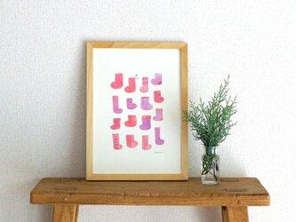 socks ( pink × purple ) A4ポスターの画像