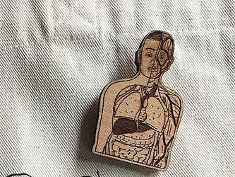 ちょっとシュールな人体模型マナブくんブローチの画像