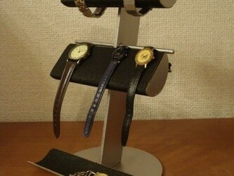 クリスマスに ブラック革バンド&メタルバンド4本掛けトレイ腕時計スタンド AKデザインの画像