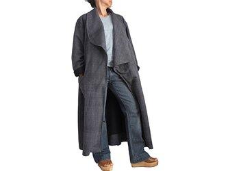 ジョムトン手織り綿のアシンメトリーオープンコート 墨黒(JNN-091-01)の画像