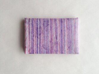 絹手染カード入れ(縦・渋紫サーモンピンク)の画像
