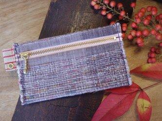 バッグの中で迷子になりにくいカードケース 木綿・手織り(むらさき×ももいろのファスナー)の画像