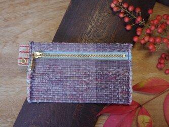 バッグの中で迷子になりにくいカードケース 木綿・手織り(むらさき×みずいろのファスナー)の画像