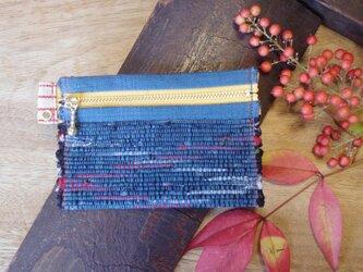 裂き織り布のカードケース 木綿・手織り(青系×黄色のファスナー)の画像