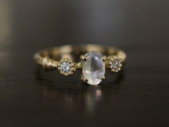 ムーンストーン×サイドダイヤモンドリング(No.1241)の画像