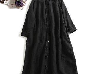 ★3周年記念キャンペーン★送料無料★おしゃれの幅も広がるリネンのロングシャツ ワンピースの画像