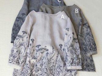 【受注製作】綿麻刺繍!可愛綿麻製トップス・ブラウス8218の画像