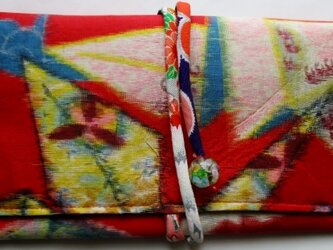 送料無料 折り鶴柄の銘仙の着物で作った和風財布・ポーチ 3898の画像