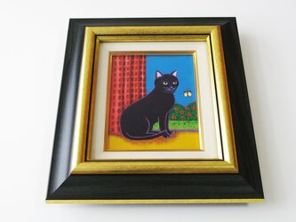 油絵 原画「好奇心」F0サイズ 額付き 黒猫 ネコの画像