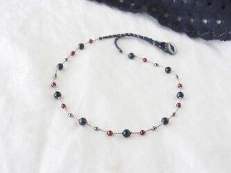 Navy&Red Necklace(ピーターサイト×ガーネット)の画像
