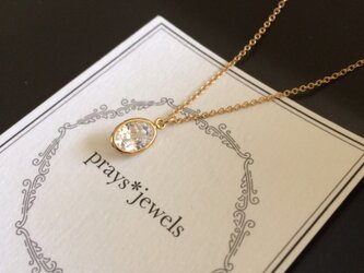 14kgf Oval CZ setting necklace 45cmの画像