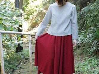 圧縮ウールの赤色フレアスカートの画像