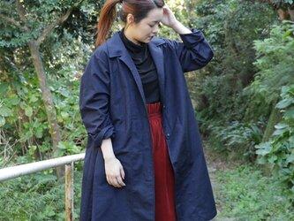 紬リメイク ステンカラーコートの画像