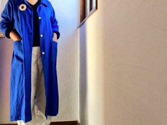 リネン100 キッチン&アトリエコート ロイヤルブルーの画像