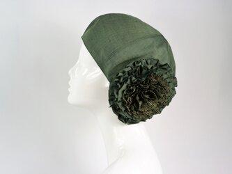 着物地お花ベレー帽:グリーンの帯地 着物リメイク/国内送料無料/1811b06の画像