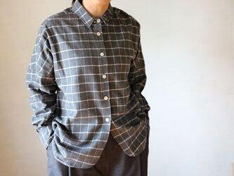 ドロップシャツ:起毛格子グレの画像
