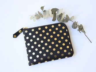 ピッグスキンのスリムなミニ財布 みずたまブラックの画像
