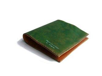 財布 二つ折り 札入れ グリーン 手染めの画像