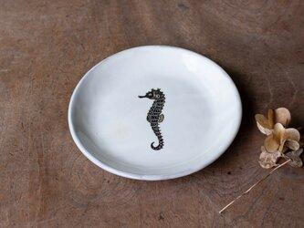 粉引丸皿(タツノオトシゴ)【クリックポスト198円可】の画像