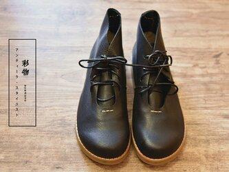 【受注製作】ふっくら丸みの牛革シューズ 丸トウ 靴  黒 FM933の画像