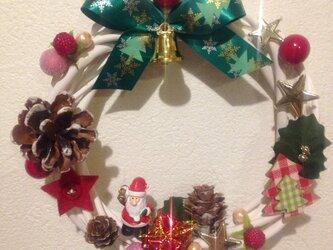 【送料込み】クリスマスリース ホワイトAの画像