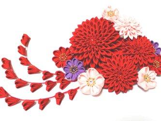 つまみ細工の髪飾り ヘアコームとUピン 12点セット【赤・紫・ピンク】の画像