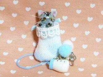 にゃんこのしっぽ○あかちゃんにゃんこのストラップ〇ミルクつき〇アメリカンショートヘア〇猫の画像