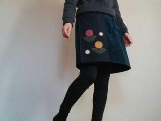 コーデュロイ濃紺巻き巻きスカート和柄の花ウエストゴムの画像