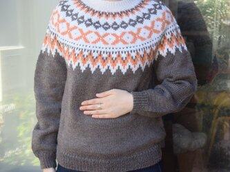 今年柄の霜降りブラウンセーターの画像