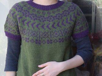 アルパカ混深緑と紫の半そでセーターの画像
