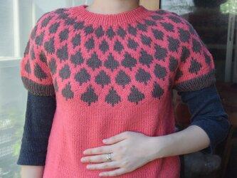 アルパカ混、サーモンピンクとココア色の半そでセーターの画像