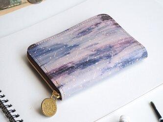 ラウンドファスナー コンパクト財布(スターリー ナイト)牛革  メンズ レディース ILL-1145の画像
